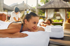 Spa Couple Massage. Romantic Woman, Man Relaxing Outdoors Stock Photos