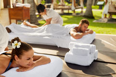 Spa Couple Massage. Romantic Woman, Man Relaxing Outdoors Royalty Free Stock Photo