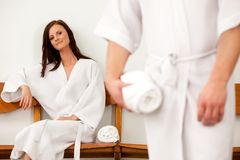 Spa Couple in Waiting Room Royalty Free Stock Photo
