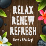 Spa day, relax, renew, refresh Royalty Free Stock Image