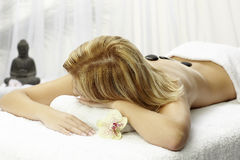 Spa,Dayspa. Spa Woman, Hot Stones Massage.Beauty salon royalty free stock images