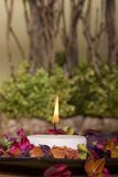 Spa decor with candle. And potpourri Royalty Free Stock Photo