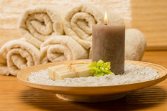 Spa Decor Wooden Tray With Candle Soap Royalty Free Stock Photo