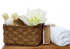 Spa Decoration - Soap, Lotion, Towel Royalty Free Stock Photo