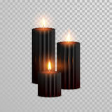 Spa decorative black brown aroma candle vector  set Stock Photography