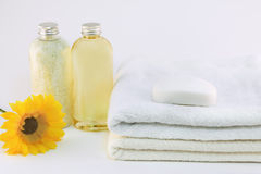 Spa detail. Collection of bath, spa, shower products royalty free stock photography