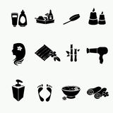Spa doodle hand drawn sketch black icons set with Royalty Free Stock Photos