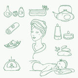 Spa doodle hand drawn sketch  icons set with Stock Photos