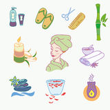 Spa doodle hand drawn sketch  icons set with Stock Images