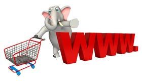 Spaß-Elefantzeichentrickfilm-figur mit WWW Zeichen und Laufkatze Stockbild