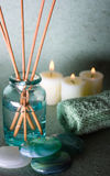 Spa elements. Zen stones with spa with candles on a bluw background Royalty Free Stock Photo