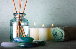 Spa elements. Zen stones with spa with candles on a bluw background Royalty Free Stock Photography