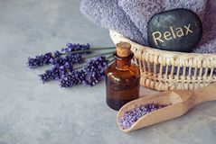 Lavender essential oil spa Royalty Free Stock Photos