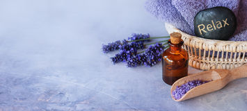 Lavender essential oil spa. SPA, essential oil with lavender flowers - health and beauty Stock Image
