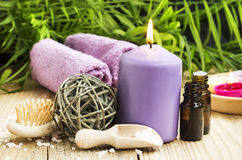 Spa. Essential Oil with Scent Candle on Wellness Background Stock Images