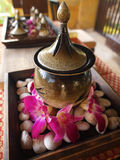 Spa Essentials. Tropical ornamental settings for a luxury spa Stock Image
