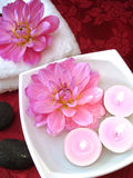 Spa essentials. (candles, flowers on water, towel and stones Stock Photography
