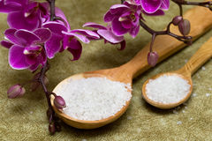 Spa essentials. (bath salt in a spoon and flowers of orchids stock photo