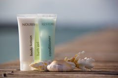 SPA essentials. And shells with ocean background Stock Photography