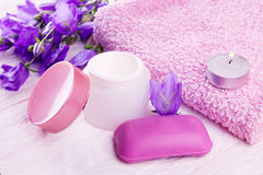 Spa essentials with bluebells Stock Images