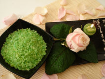 Spa essentials (green salt, and pink rose with candle) Stock Image