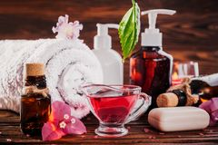 Free Spa Essentials Including Natural Oils, Salt, Soap And Candle. Organic Cosmetics Concept Stock Photography - 105270442