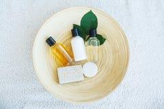 Spa essentials including natural oils, salt, soap. Organic cosme. Tics concept Royalty Free Stock Image