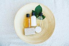 Spa essentials including natural oils, salt, soap. Organic cosme. Tics concept Stock Photography