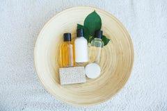 Spa essentials including natural oils, salt, soap. Organic cosme. Tics concept Stock Photo