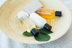 Free Spa Essentials Including Natural Oils, Salt, Soap. Organic Cosmetics Concept Royalty Free Stock Image - 114878606