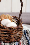 Spa essentials including soaps, towels, wash cloths and brush Stock Photos