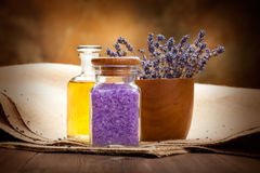 Spa essentials - lavender aromatherapy Royalty Free Stock Photo