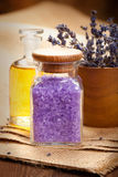 Spa essentials - lavender aromatherapy Stock Image