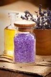 Spa essentials - lavender aromatherapy Stock Image