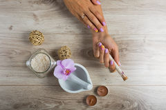 Spa essentials for a manicure Stock Images