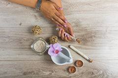 Spa essentials for a manicure Royalty Free Stock Photos