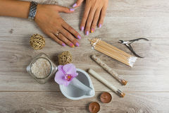 Spa essentials for a manicure Royalty Free Stock Photography
