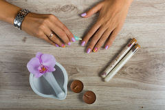 Spa essentials for a manicure Royalty Free Stock Image