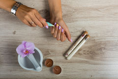 Spa essentials for a manicure Stock Image