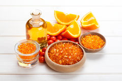 Spa essentials - orange aromatherapy Stock Images