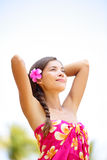 Spa Ethnic Pretty Woman Relaxed Enjoying Holiday Stock Photography