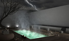 Spa exterior pool, night scene. 3D illustration Royalty Free Stock Images