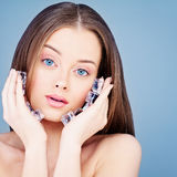 Spa Face. Healthy Woman with Clear Skin and Ice Cubes. Skincare. Concept Stock Photos
