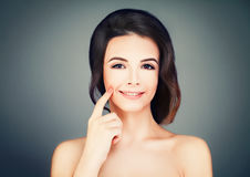 Spa Face. Young Model with Healthy Skin on Blue. Spa Beauty and Cosmetology Background Royalty Free Stock Photo
