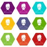Spa facial clay mask icon set color hexahedron Royalty Free Stock Photos