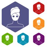 Spa facial clay mask icons set Stock Photos