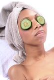 Spa - Facial with Cucumber Stock Images