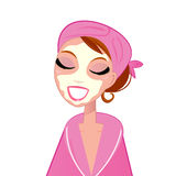 Spa facial girl wearing pink bath robe Royalty Free Stock Photos