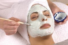 Spa  Facial Mask Application Stock Photo