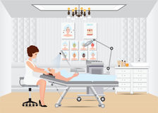 Spa facial massage treatment with ozone facial steamer on bed. Stock Photography